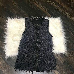 Rag and Bone Leather Trimmed Boucle Vest Medium